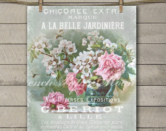 Vintage Digital French Shabby Flowers, A La Belle Jardiniere Digital Print, French Transfer Image, Instant Download