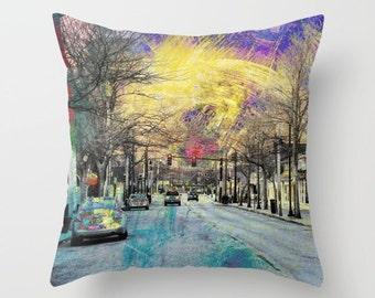 Main St Photo Throw Pillow Cover, home decor, photo pillow, street scene, purple, red, teal, yellow, painted effect on photo