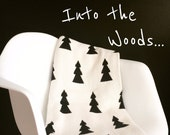 Cotton Knit Throw Blanket - 80% Recycled Cotton Fibers - Into the Woods - Black and Ivory