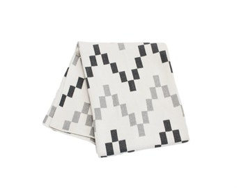 Cotton Knitted Throw Blanket - 80% Recycled Cotton Fibers - Block Chevron - Grey, Ivory