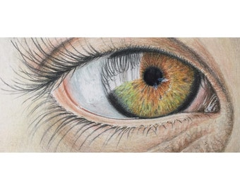 Realistic colored pencil eye drawing - pencil art - eye painting - realistic art - wall decor