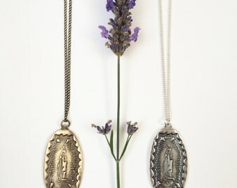 Our Lady of Guadalupe Pendant Necklace in Bronze or Sterling Silver