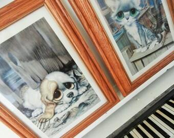 1968, Big Eyed Print, Sad Puppy, By GIG, Wood Frame