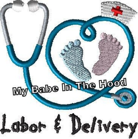 Labor And Delivery Nurse Stethoscope Embroidery Design