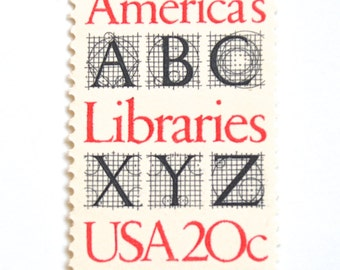 10 Unused 1982 Library Postage Stamps // America's Libraries // Vintage Red and Black and White 20 Cent Stamps