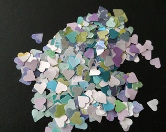 Heart Confetti in Blues, Greens, and Purples