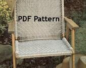 Macrame Chair Pattern Vintage 1980s Jute Knot Tying Bohemian Hippie Camping Patio Beach Chair Digital Download