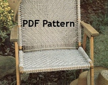 Macrame Chair Pattern Vintage 1980s Jute Knot Tying Bohemian Hippie Camping Patio Beach Chair Digital Download