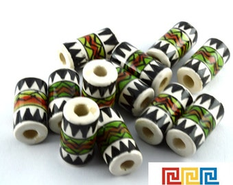 10 Peruvian ceramic TUBE beads handpainted and glazed 18 mm