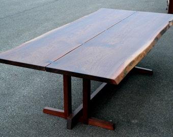 Live Edge Walnut Nakashima Style Table