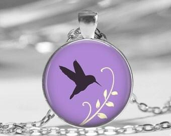 Hummingbird Photo Pendant Necklace or Key Chain Lilac Spring Jewelry glass pendant Springtime Bird