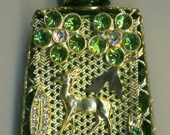 Perfume Bottle, Czech Glass bottle, parfume bottle, flacons - green bottle with deer gold filigree with green and clear stones PB 306