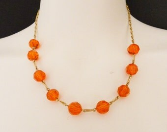 30s ROLLED GOLD  As New Deadstock chain orange topaz crystal glass necklace