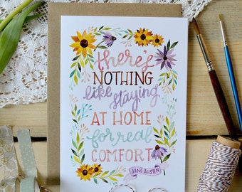 Housewarming Card/ New House Card/ Moving Card/ Watercolor Note Card/ Jane Austen Quote/ Jane Austen Card- 5x7