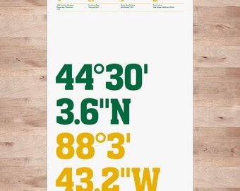 Green Bay Packers, Stadium Coordinates, Football posters