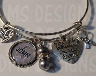 Customized Bangle Bracelet - Grey Matters Brain Cancer Awareness