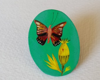 PIN - Butterfly pretty - hand painted.