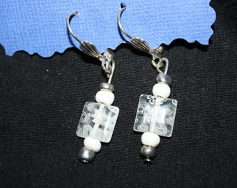 White Fused Glass Square bead Earrings
