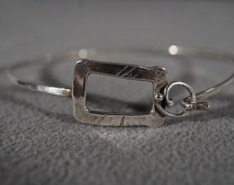 Vintage Sterling Silver Fancy  Hook Closure Bangle Style Bracelet     #595