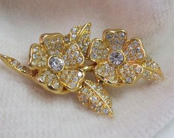 SaLE JOAN RIVERS Vintage Duette RARE Brooch Earring Pave Ice Rhinestone Flowers Earrings Jewelry Gift