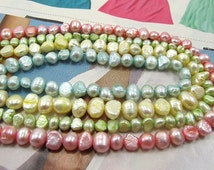 Pastel Blue Green Yellow Pink Baroque Button Freshwater Pearls. Mix Colors Cultured Freshwater Pearls. Keishi Fresh Water Pearls. 4 strands
