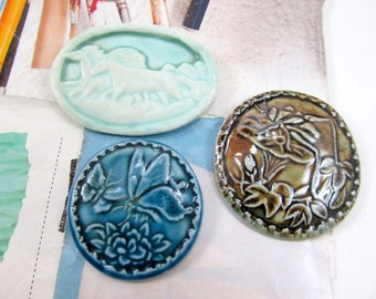 Blue Ceramic Butterfly, Brown Handmade Cricket Pendant, Shaman, Porcelain Horses, Clay Butterfly & Flower, Cicada Medallion, Teal Wild Horse