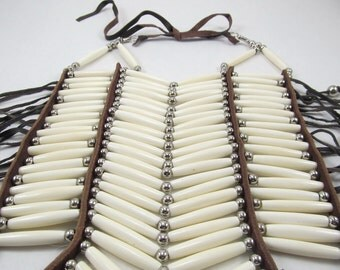 White Bone Breastplate, 20 Row Buffalo Bone Breastplate, Pow Wow Ceremonial Necklace, Tribal Breastplate, Regalia, Tribal Bone Choker