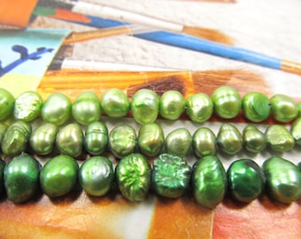 Green Pearls, Baroque Freshwater Pearls, Lime Button Pearls, Kelly Green Cultured Pearls Mix, Potato Pearls, Lime Freshwater Pearls, 3 str