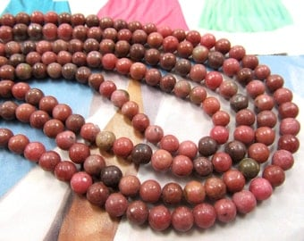 Pink Agate Beads, 6mm Gemstone, Salmon Colored Agate, Rose Gemstone Beads, Salmon Color Beads, Pink Coral Agate Beads, 1 Str