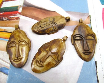 African Mask Pendant, Bone Face Mask Focal, Tribal Carved Bone Face Pendant, Face Mask Pendant, Yak Bone Face Bead, Primitive Native Mask