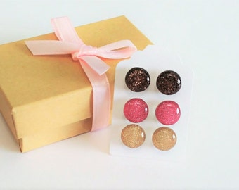 Tiny Trio Stud Earrings (Neapolitan)
