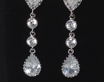 Wedding Jewelry Cubic Zirconia Pear drop Sterling Silver Posts Wedding Bridal Earrings Long Earring Silver Wedding Earrings - CZ54