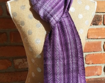 Scarf, Handwoven, Purple, Dark Purple, Light Purple