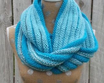 Scarf, Infinity Scarf, Hand Knit, Turquoise, Light Blue
