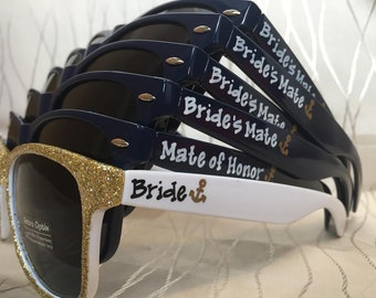 Bride's Mate sunglasses for your wedding party/mate of honor/Shipfaced/Nauti Crew sunglasses/bachelorette cruise party/last sail
