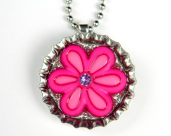 NEW Flower Power - Bottle Cap Necklace