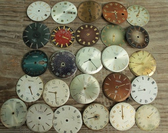 vintage watch faces ...  set of 26  watch faces USSR ...  watches dials ... circle dials ... Old Vintage watch parts ... steampunk supplies