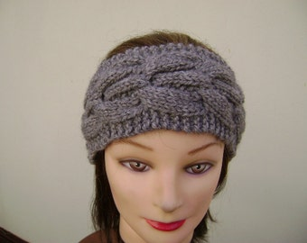 Taupe Headband/Earwarmer Handknit with Cable. Ready to Ship