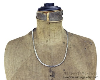 Vintage Silver Chain Necklace, Long Silver Necklace, Long Silver Chain Necklace, Thick Silver Chain Necklace