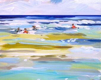 Abstract print, Ocean Swim, abstract beach art