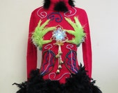 Sexy Cute Flirty Grinch Me Tacky Ugly Christmas Sweater Black FooFoo Feather Boa Light up Glam sz S Stretchy Red  Fun Beaded Turtleneck