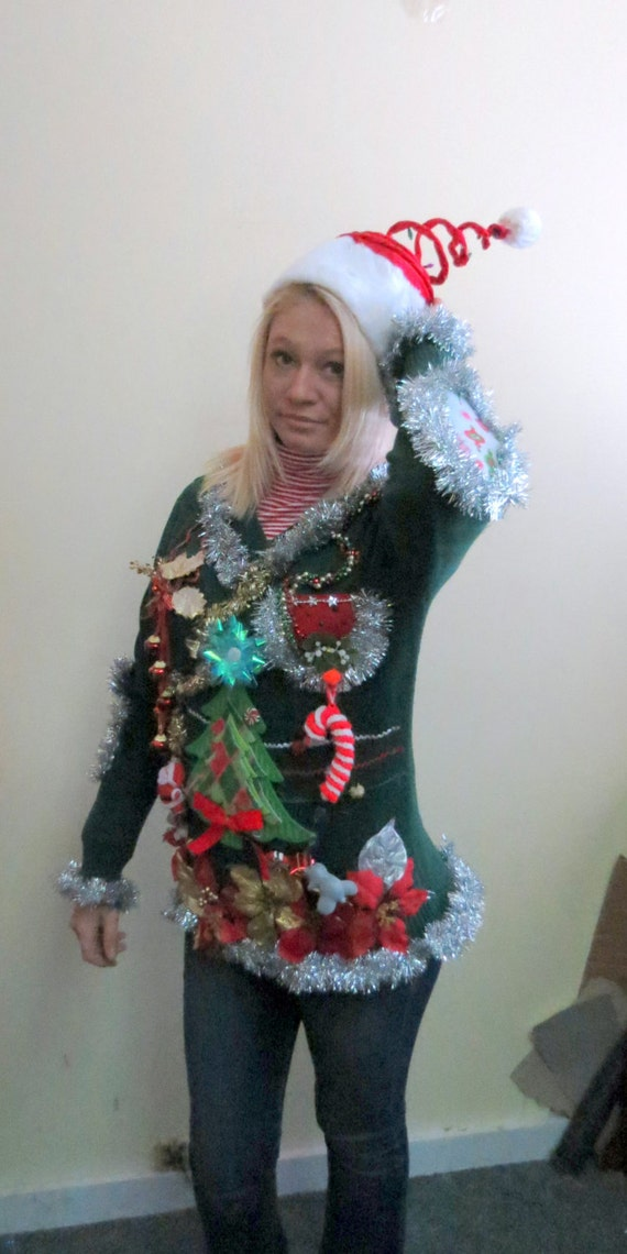 Tacky Ugly Christmas Sweater with Potpourri of Christmas