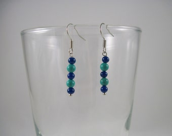 Dyed Jade and Glass Beaded Earrings