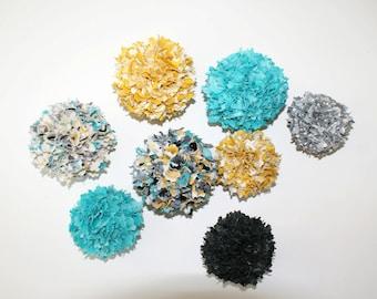 Set of 8 Shabby Chic Fabric Rag Balls / Fall / Mustard & Teal / Bowl Filler