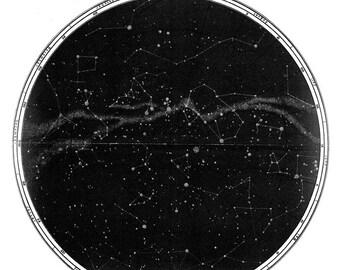 Zodiac Star Map PRINT Wall Hanging, Black White Wall Art