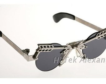 round sunglasses Steampunk silver metal Goth style unusual unique industrial design wearable art stainless steel unusual