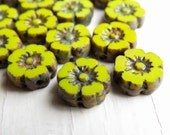 Chartreuse Baby Blooms - 10mm vibrant chartreuse czech table cut flower beads, Picasso finish (6), czech glass beads, picasso finish beads