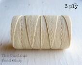 Natural Cream 3ply Irish waxed linen cord (5 yards), Irish waxed linen thread, cream cording, beading, uk Irish linen cord thread