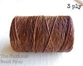 Walnut Brown Irish waxed linen cord 3ply (10 yards) - irish waxed linen cord, irish waxed linen thread brown irish linen, uk irish linen