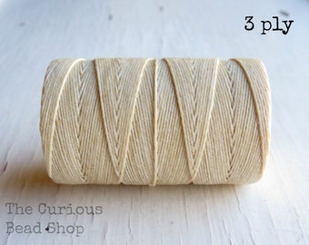 Natural Cream 3ply Irish waxed linen cord (10 yards), Irish waxed linen thread, cream cording, beading, uk Irish linen cord thread